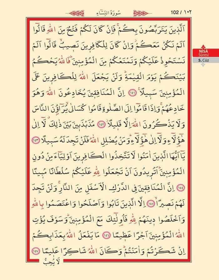 Nisa Sûresi - 100.Sayfa - 5. Cüzün 4. Hizbi