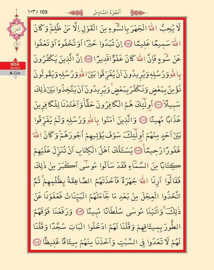 Nisa Sûresi - 101.Sayfa - 6. Cüzün 1. Hizbi