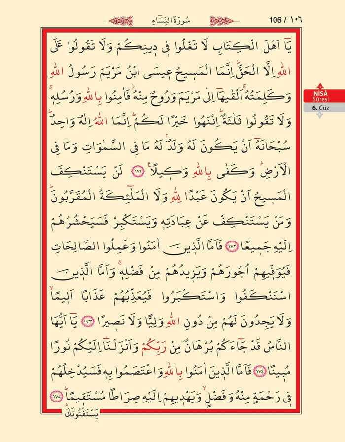 Nisa Sûresi - 104.Sayfa - 6. Cüzün 1. Hizbi