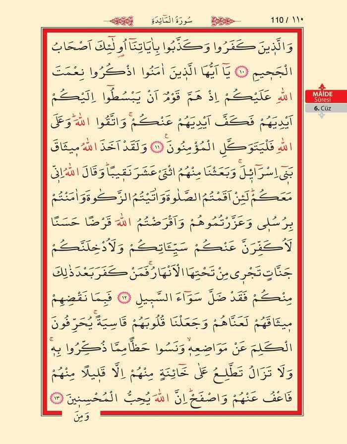 Maide Sûresi - 108.Sayfa - 6. Cüzün 2. Hizbi