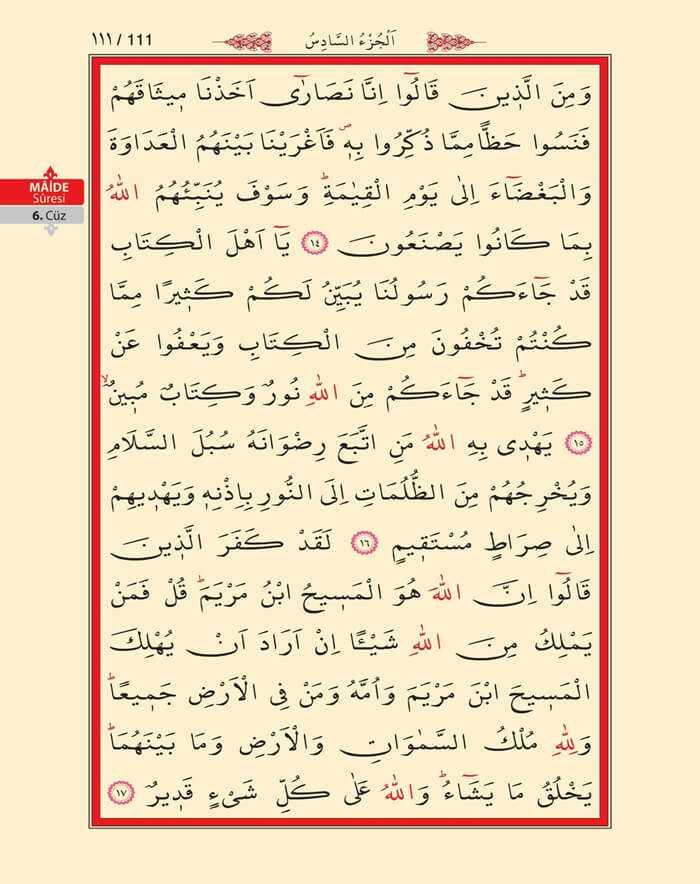 Maide Sûresi - 109.Sayfa - 6. Cüzün 2. Hizbi
