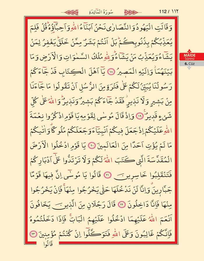 Maide Sûresi - 110.Sayfa - 6. Cüzün 2. Hizbi