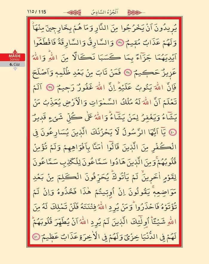 Maide Sûresi - 113.Sayfa - 6. Cüzün 3. Hizbi