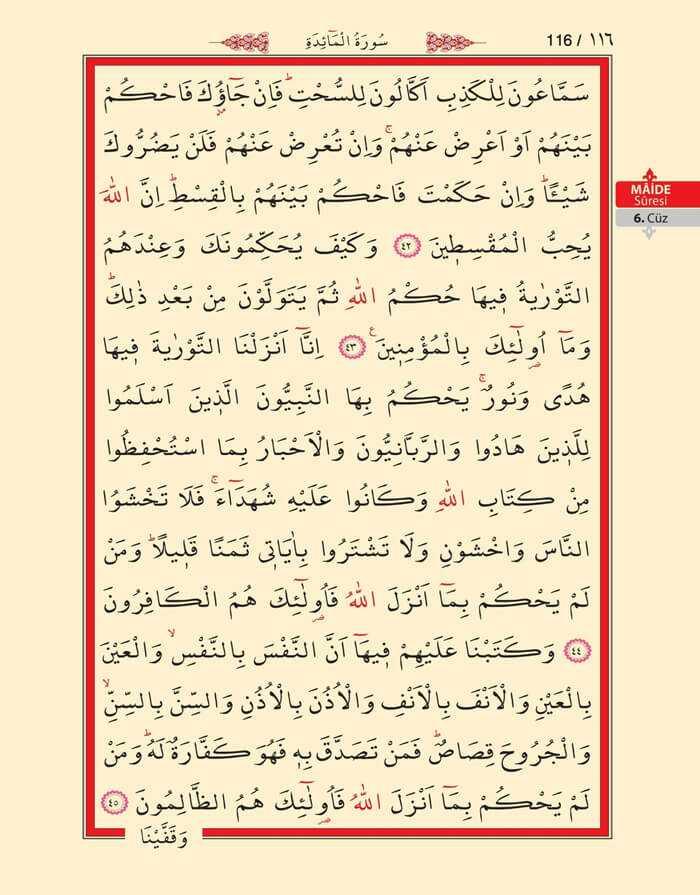 Maide Sûresi - 114.Sayfa - 6. Cüzün 3. Hizbi