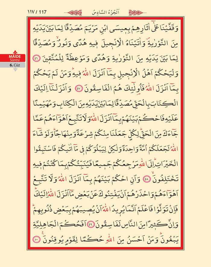 Maide Sûresi - 115.Sayfa - 6. Cüzün 3. Hizbi