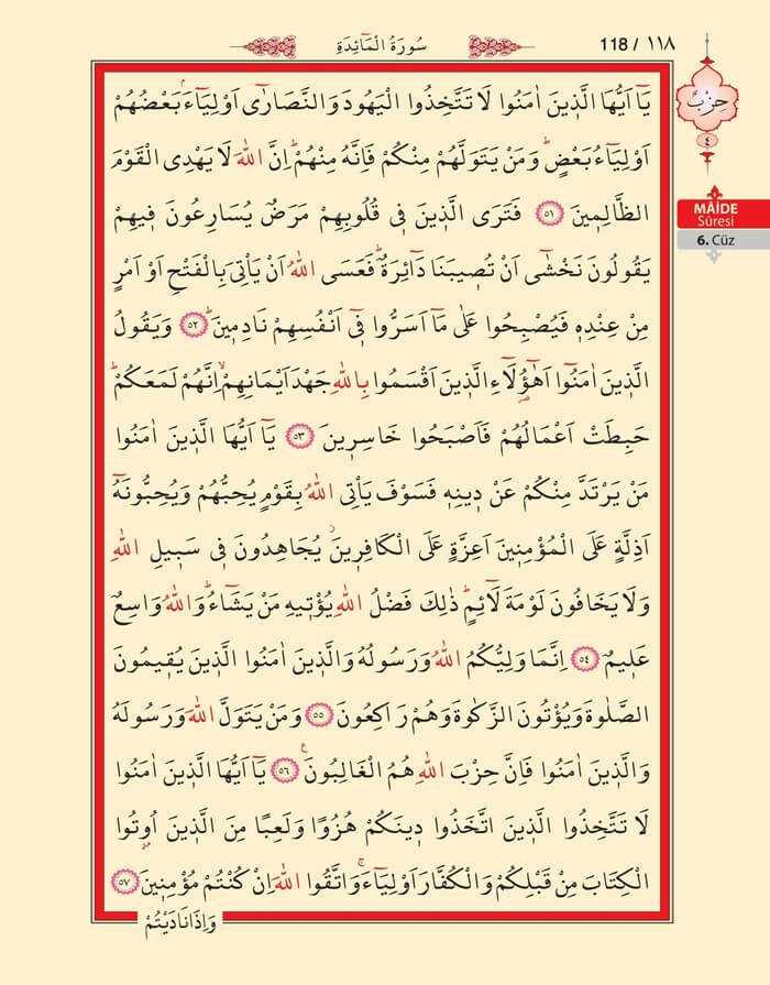 Maide Sûresi - 116.Sayfa - 6. Cüzün 4. Hizbi
