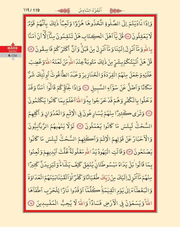 Maide Sûresi - 117.Sayfa - 6. Cüzün 4. Hizbi