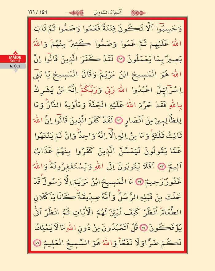 Maide Sûresi - 119.Sayfa - 6. Cüzün 4. Hizbi