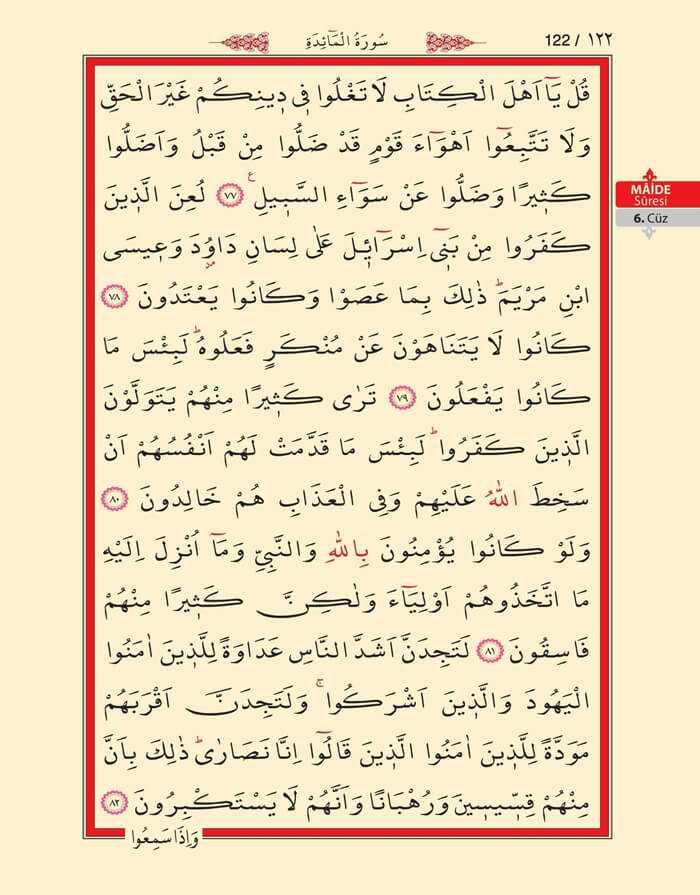 Maide Sûresi - 120.Sayfa - 6. Cüzün 4. Hizbi