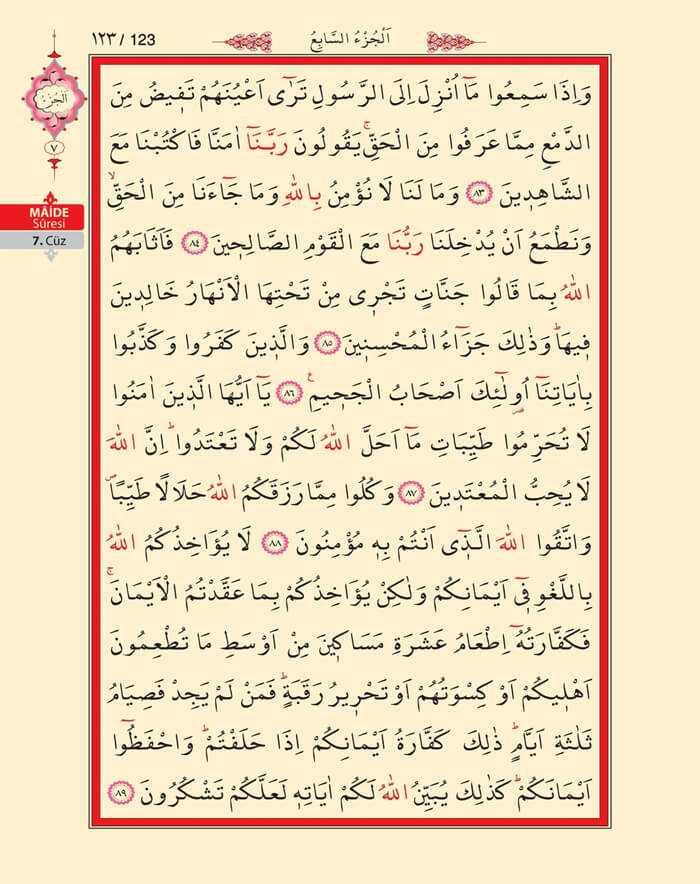 Maide Sûresi - 121.Sayfa - 7. Cüzün 1. Hizbi