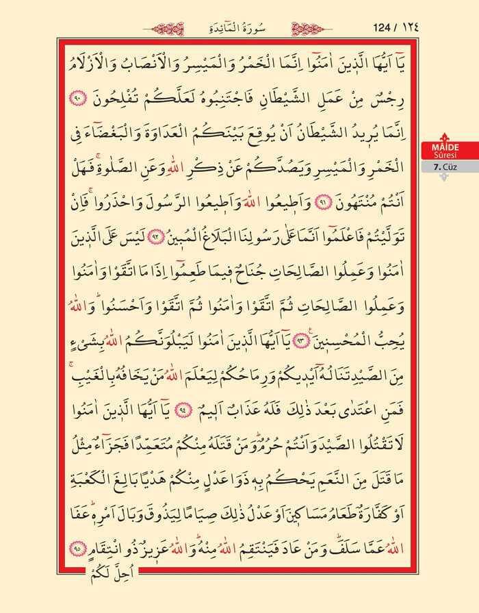 Maide Sûresi - 122.Sayfa - 7. Cüzün 1. Hizbi