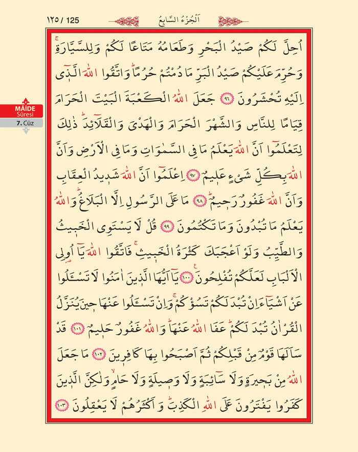 Maide Sûresi - 123.Sayfa - 7. Cüzün 1. Hizbi
