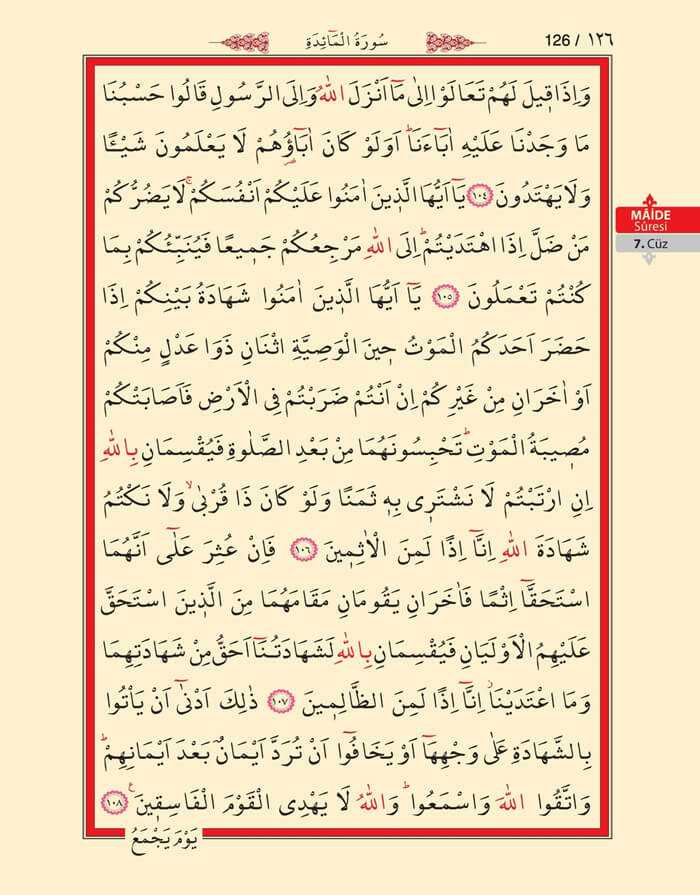 Maide Sûresi - 124.Sayfa - 7. Cüzün 1. Hizbi