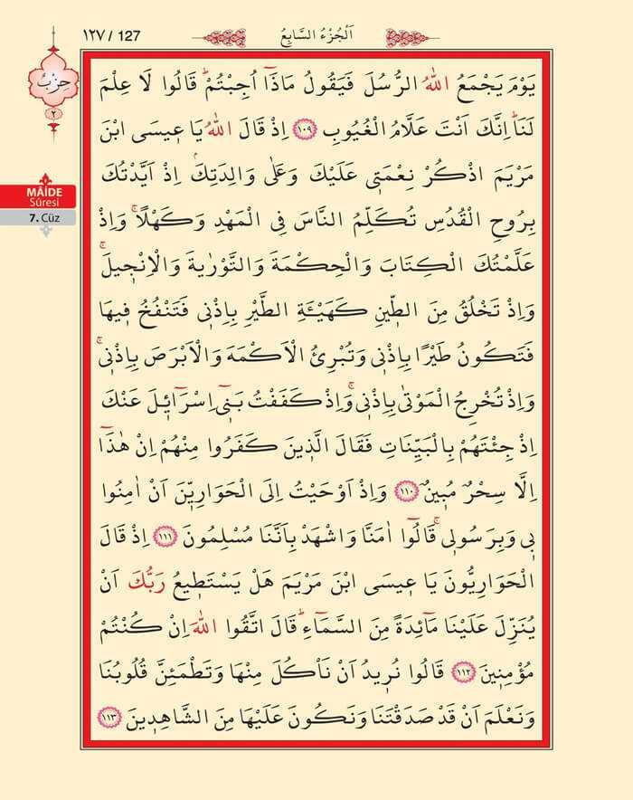 Maide Sûresi - 125.Sayfa - 7. Cüzün 1. Hizbi