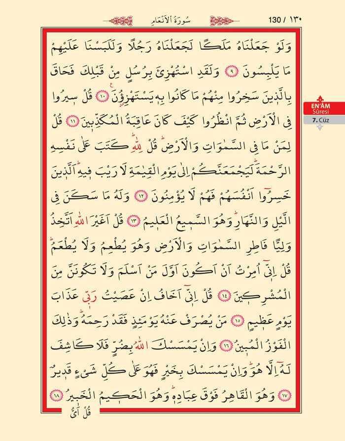 En'am Sûresi - 128.Sayfa - 7. Cüzün 2. Hizbi