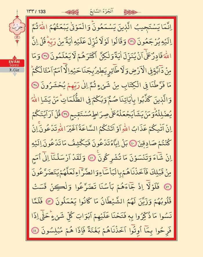 En'am Sûresi - 131.Sayfa - 7. Cüzün 3. Hizbi