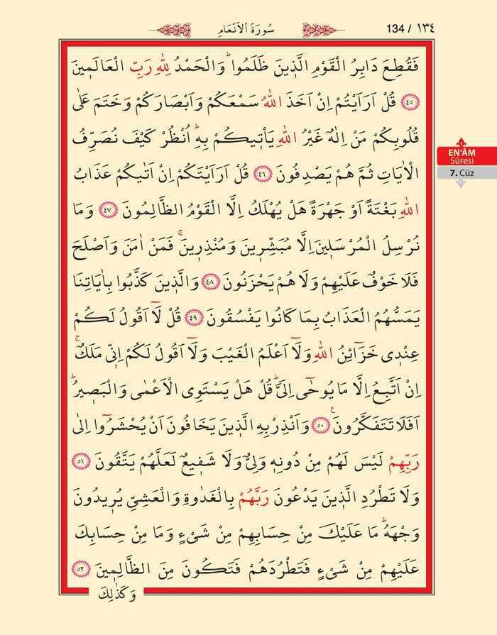En'am Sûresi - 132.Sayfa - 7. Cüzün 3. Hizbi