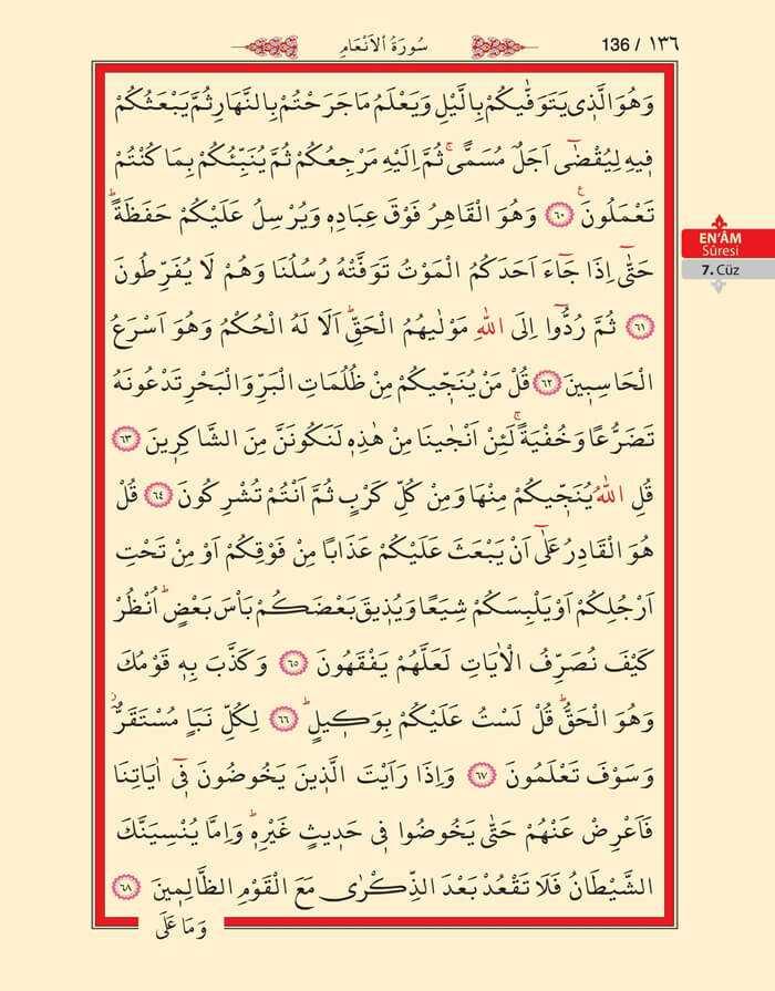En'am Sûresi - 134.Sayfa - 7. Cüzün 3. Hizbi
