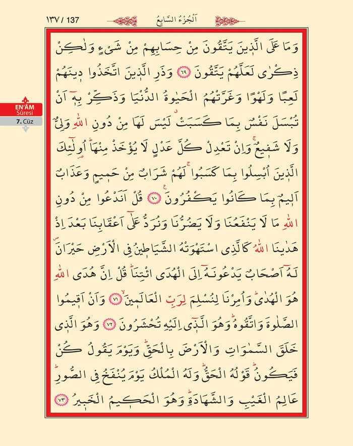 En'am Sûresi - 135.Sayfa - 7. Cüzün 3. Hizbi