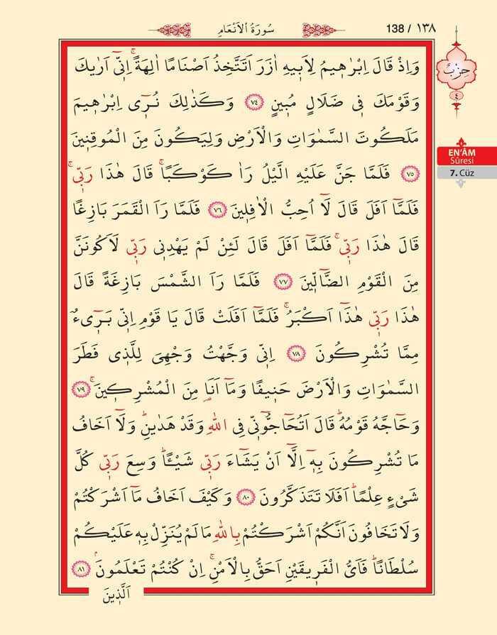 En'am Sûresi - 136.Sayfa - 7. Cüzün 4. Hizbi