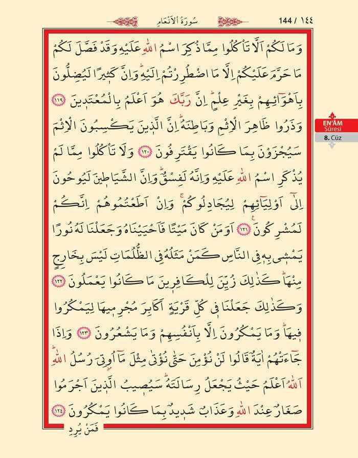 En'am Sûresi - 142.Sayfa - 8. Cüzün 1. Hizbi