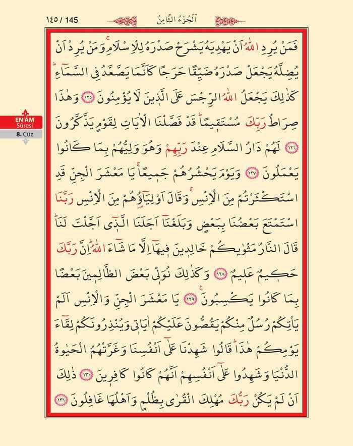 En'am Sûresi - 143.Sayfa - 8. Cüzün 1. Hizbi