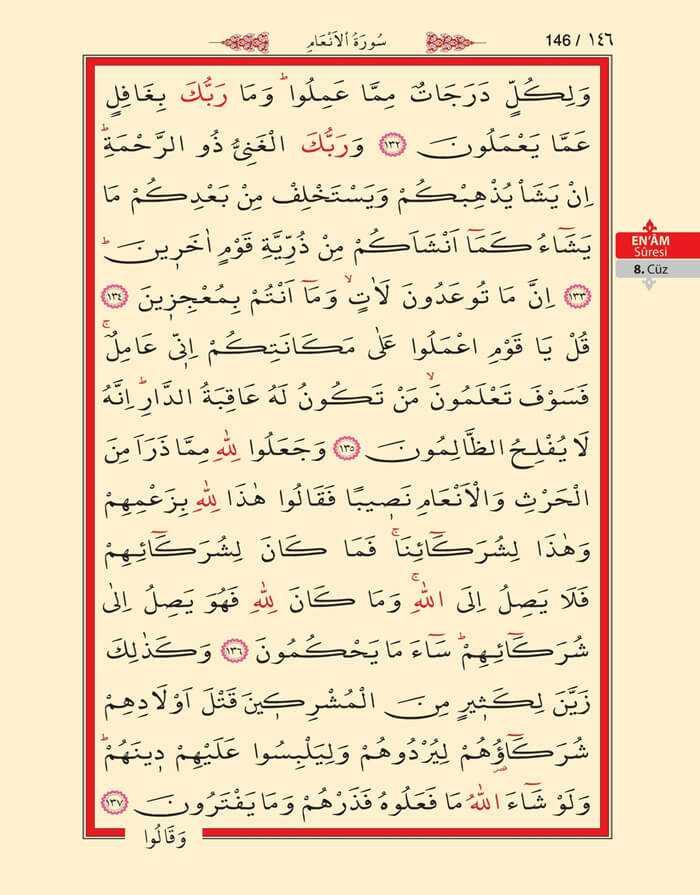 En'am Sûresi - 144.Sayfa - 8. Cüzün 1. Hizbi
