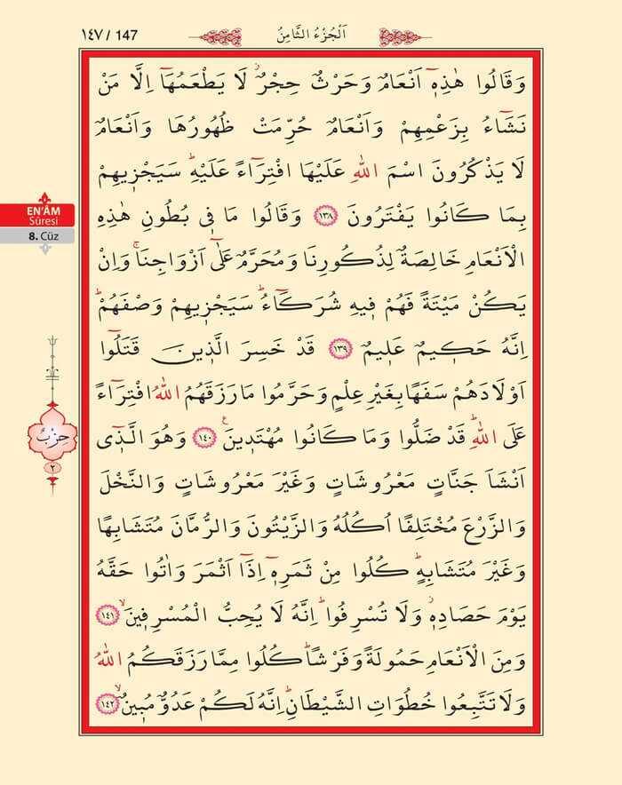 En'am Sûresi - 145.Sayfa - 8. Cüzün 1. Hizbi