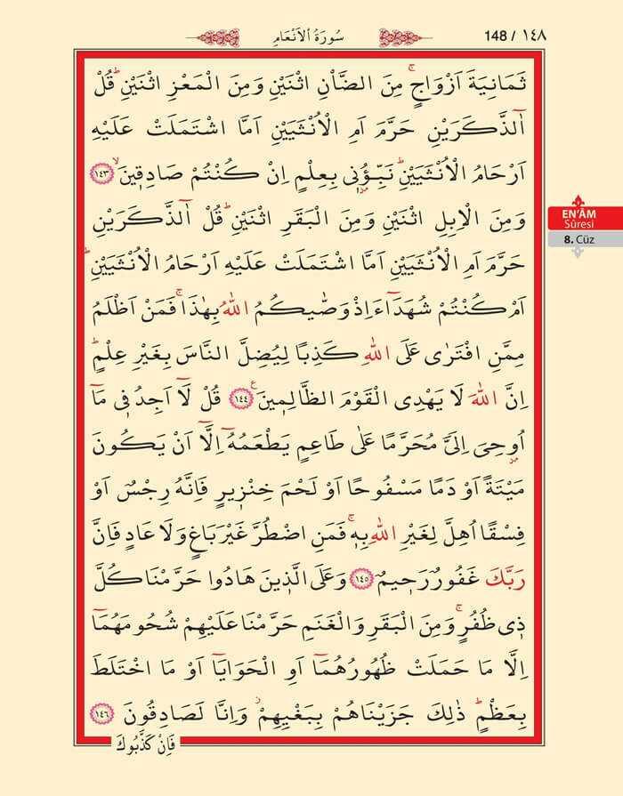 En'am Sûresi - 146.Sayfa - 8. Cüzün 2. Hizbi