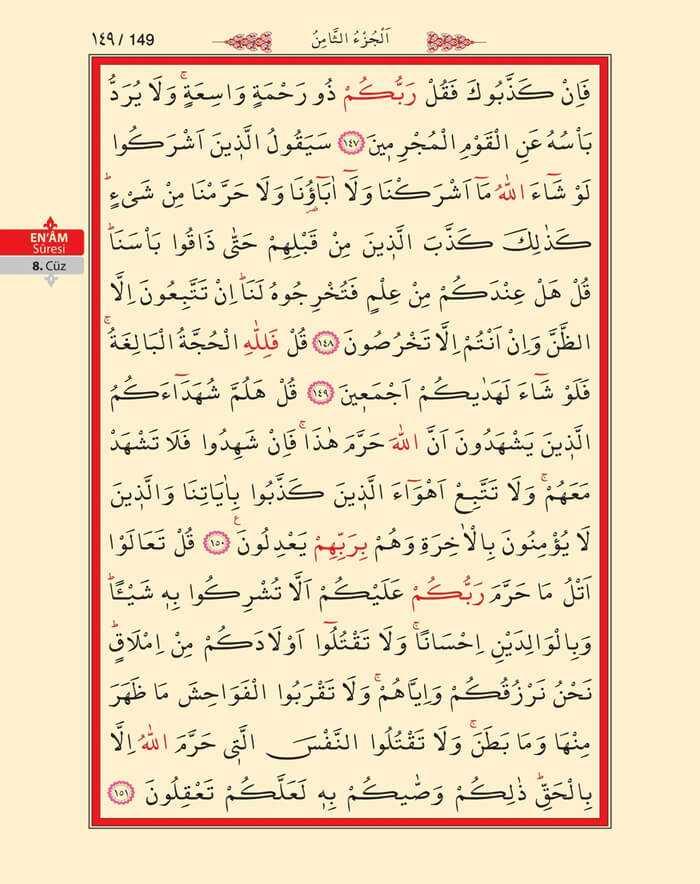 En'am Sûresi - 147.Sayfa - 8. Cüzün 2. Hizbi