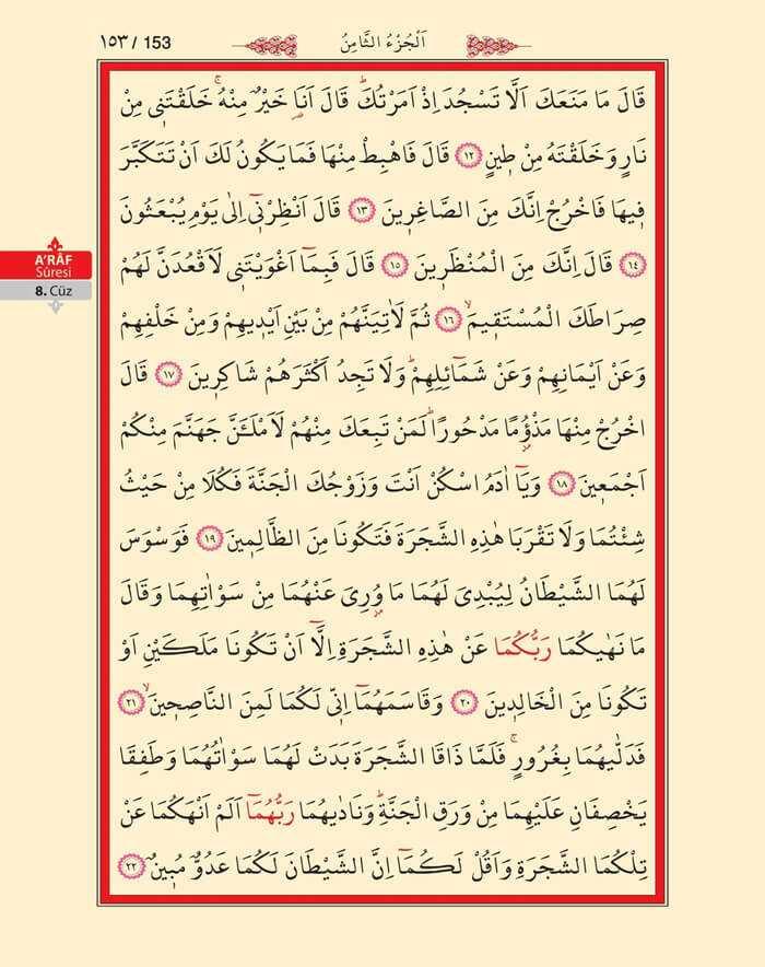 A'raf Suresi - 151.Sayfa - 8. Cüzün 3. Hizbi