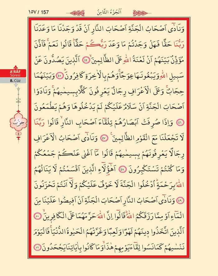 A'raf Suresi - 155.Sayfa - 8. Cüzün 4. Hizbi