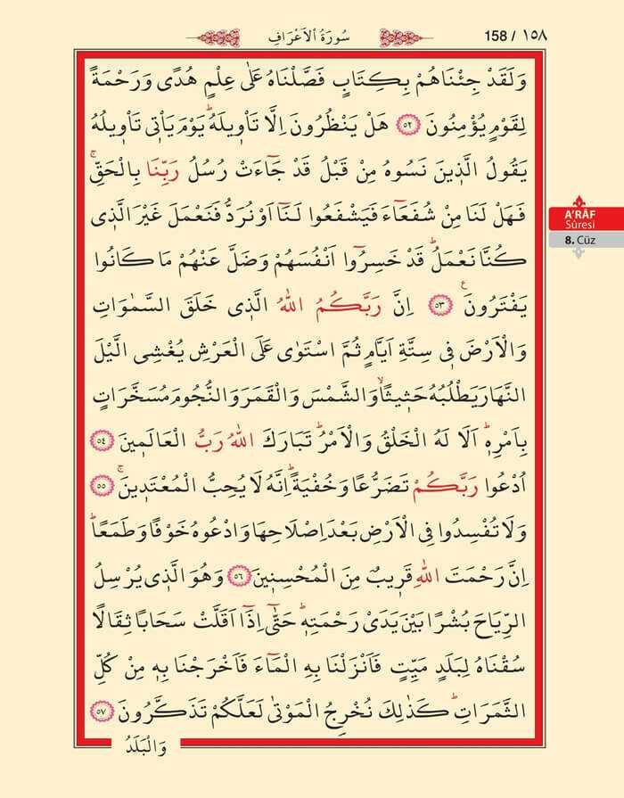 A'raf Suresi - 156.Sayfa - 8. Cüzün 4. Hizbi