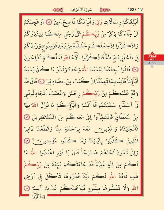 A'raf Suresi - 158.Sayfa - 8. Cüzün 4. Hizbi