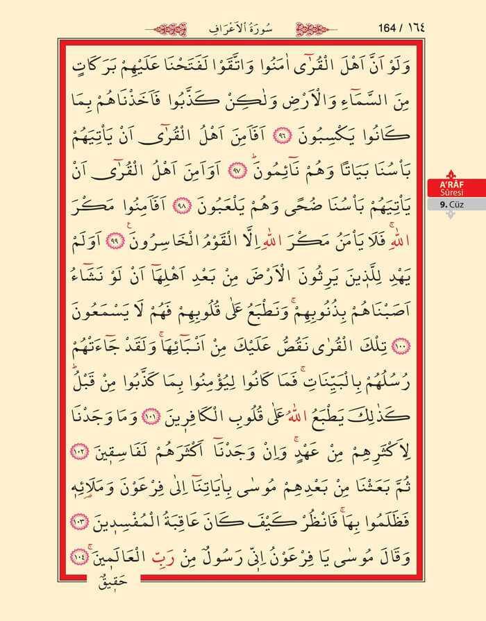 A'raf Suresi - 162.Sayfa - 9. Cüzün 1. Hizbi