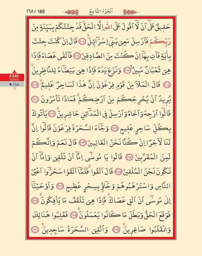 A'raf Suresi - 163.Sayfa - 9. Cüzün 1. Hizbi