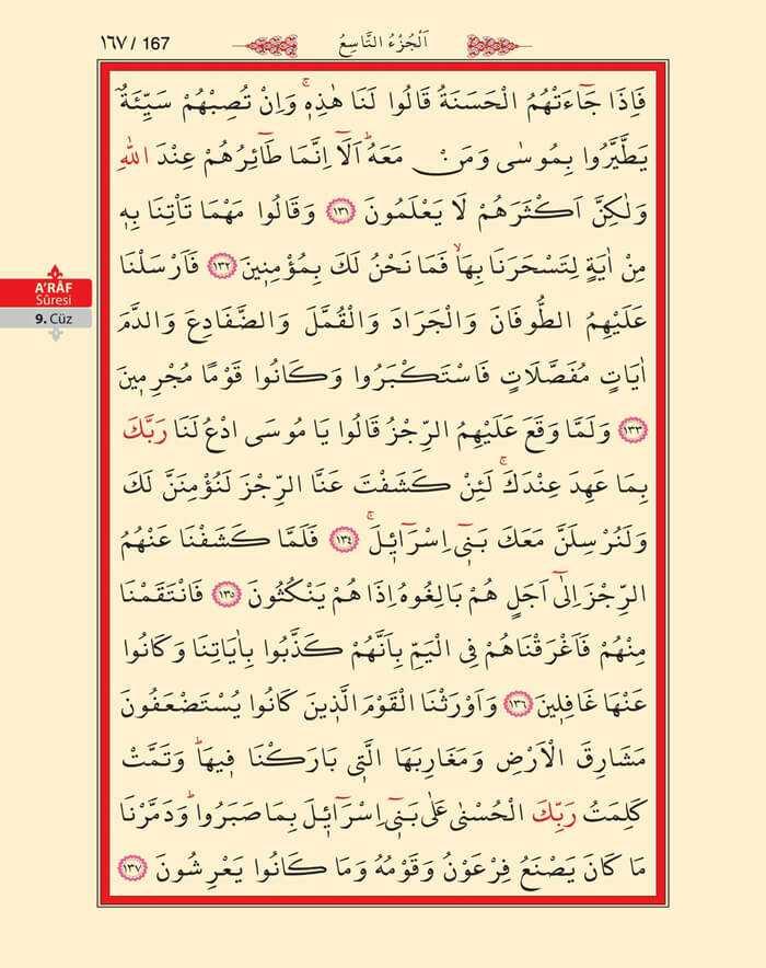 A'raf Suresi - 165.Sayfa - 9. Cüzün 1. Hizbi
