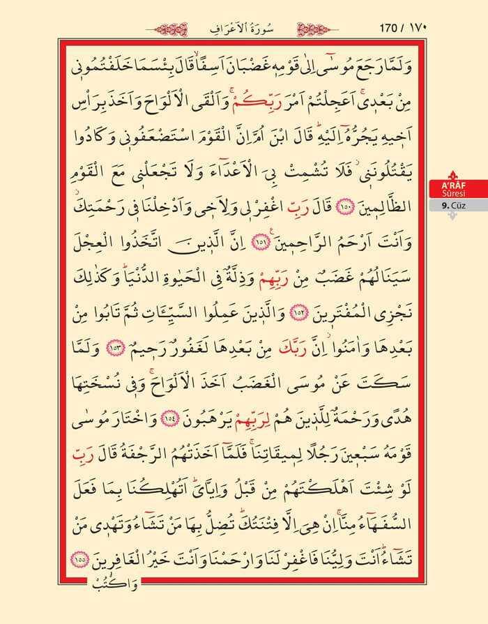 A'raf Suresi - 168.Sayfa - 9. Cüzün 2. Hizbi