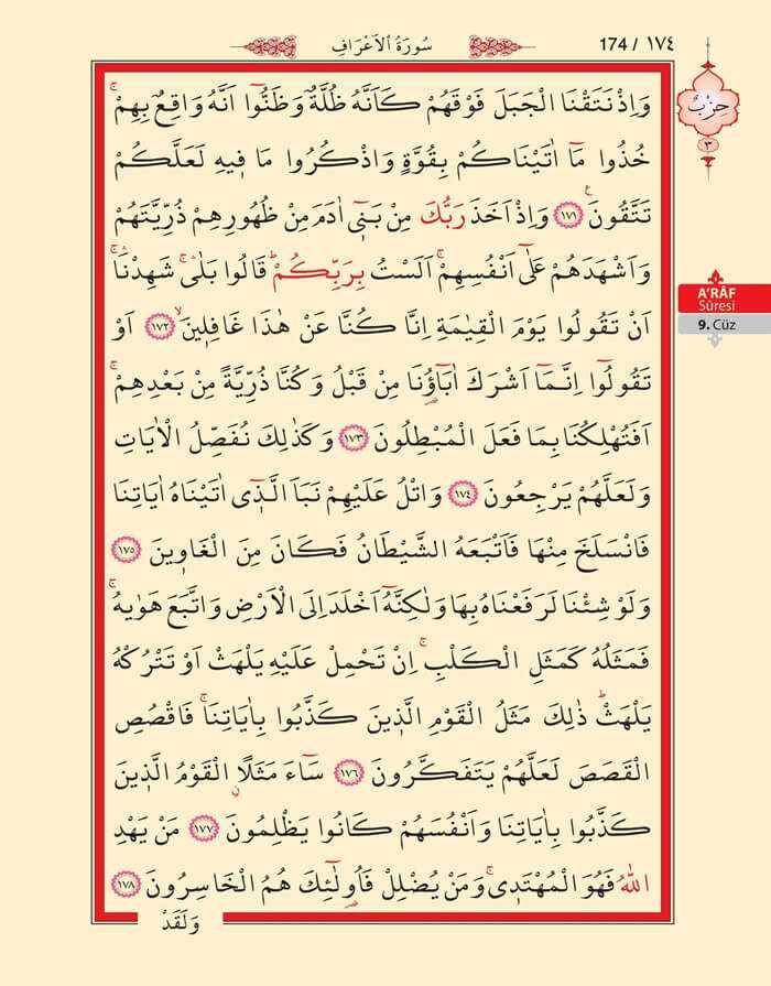 A'raf Suresi - 172.Sayfa - 9. Cüzün 3. Hizbi