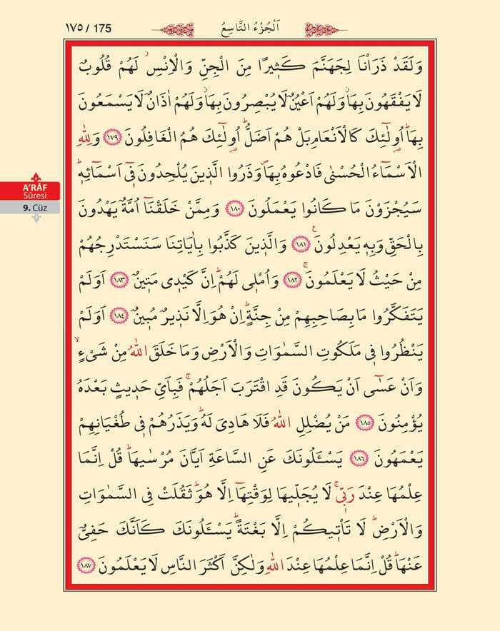 A'raf Suresi - 173.Sayfa - 9. Cüzün 3. Hizbi