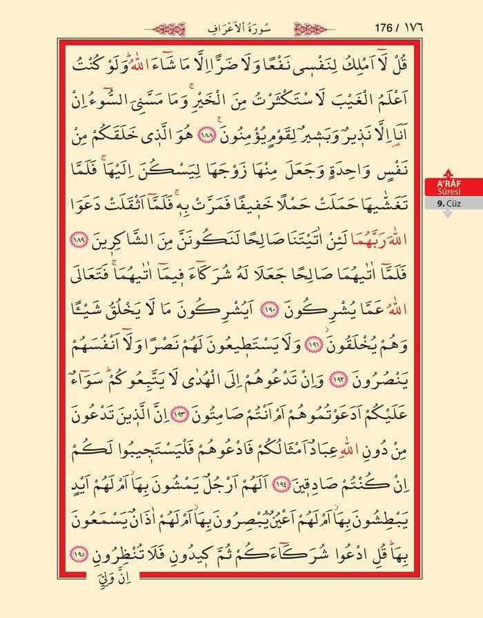 A'raf Suresi - 174.Sayfa - 9. Cüzün 3. Hizbi