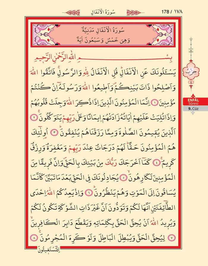 Enfal Suresi - 176.Sayfa - 9. Cüzün 4. Hizbi