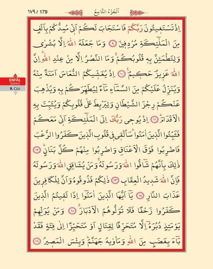 Enfal Suresi - 177.Sayfa - 9. Cüzün 4. Hizbi