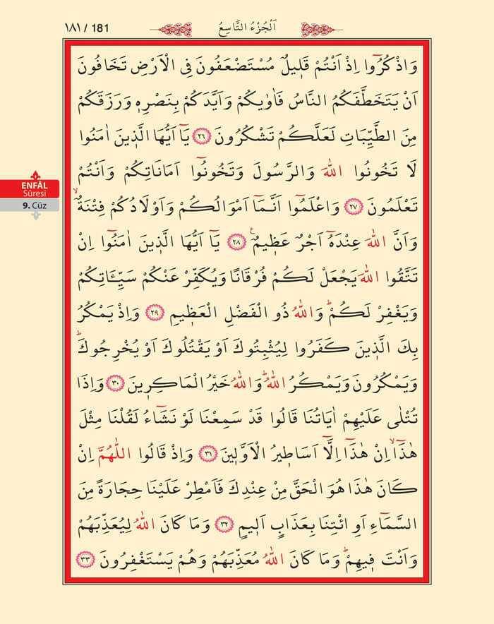 Enfal Suresi - 179.Sayfa - 9. Cüzün 4. Hizbi