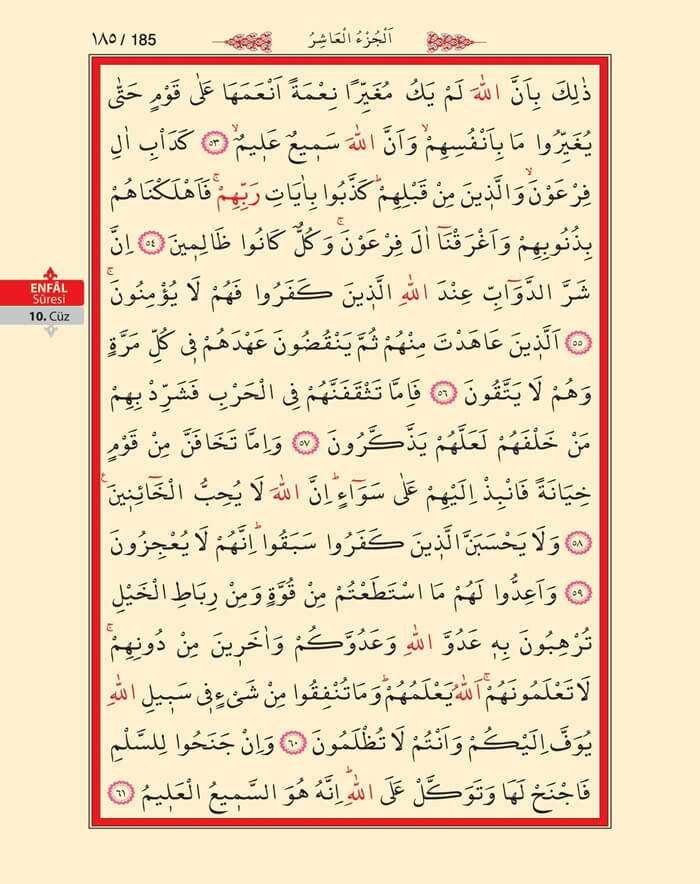 Enfal Suresi - 183.Sayfa - 10. Cüzün 1. Hizbi