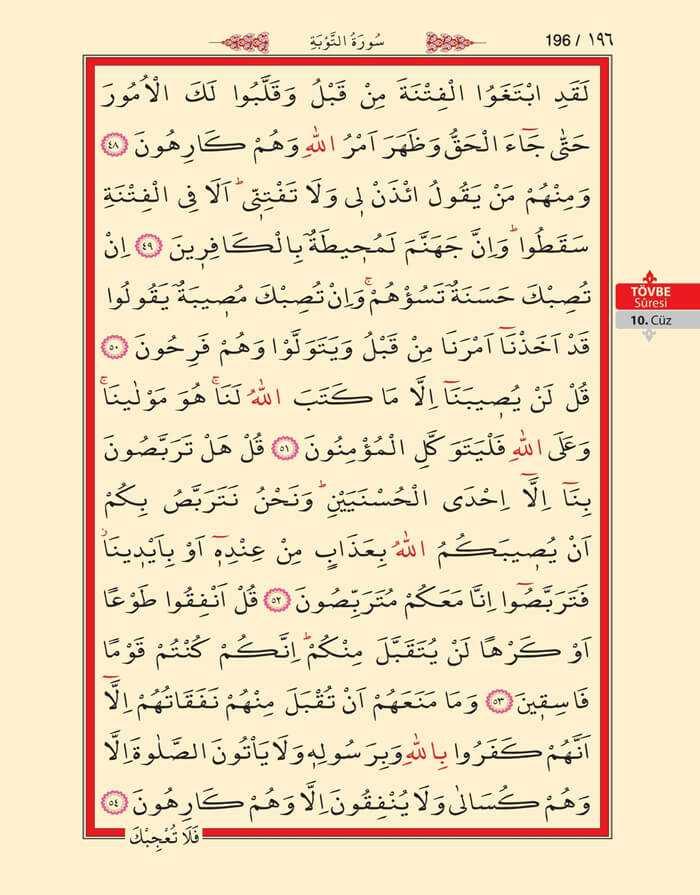 Tevbe Suresi - 194.Sayfa - 10. Cüzün 3. Hizbi