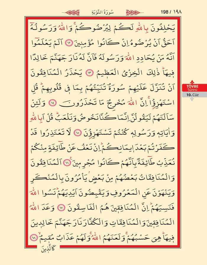 Tevbe Suresi - 196.Sayfa - 10. Cüzün 4. Hizbi