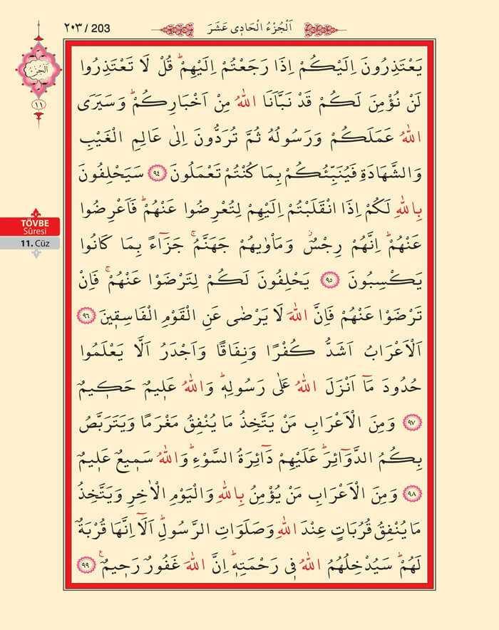 Tevbe Suresi - 201.Sayfa - 11. Cüzün 1. Hizbi