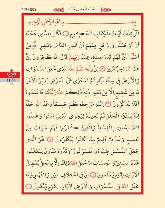 Yunus Suresi - 207.Sayfa - 11. Cüzün 2. Hizbi