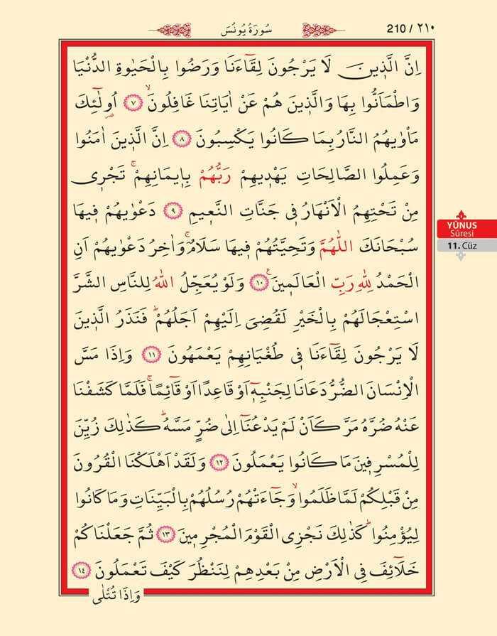Yunus Suresi - 208.Sayfa - 11. Cüzün 2. Hizbi
